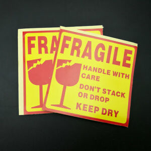 250 Fragile Sticker Handle With Care Keep Dry Box Sealing Labels Sticker 10x10cm