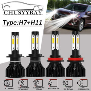 4 side H7 h11 Led Headlight Bulbs For Chevrolet Traverse 2013 2018 Hi low Beam