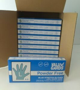 1000 Valu Gard Stretch Blue Gloves Powder Latex Free Size L 10 Boxes