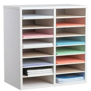 Literature Organizer Wood Adjustable 16 Compartment Adiroffice Office Furniture