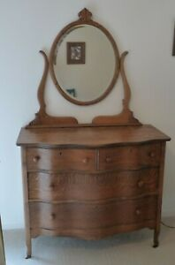 Antique Tiger Oak Dresser With Mirror Serpentine Front Circa 1900
