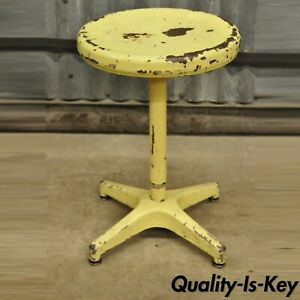 Vintage Ajustrite American Industrial Steel Metal Yellow Paint Adjustable Stool