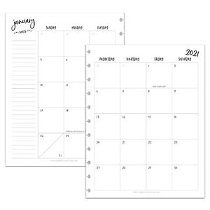 Betternote 2021 Monthly Calendar Refill For Tul Levenger Arc Happy Planner Iwp