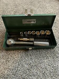 Vintage S K Tools Sae 3 8 Drive 9 Piece Socket Set Box Made In Usa