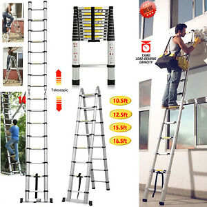10 5ft 16 5ft Ladder Telescoping Portable Step Aluminum Safety Lock Protector