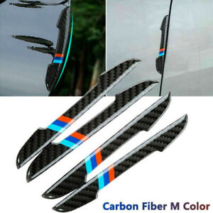 4pc Carbon Fiber Car Accessories Door Scratch Bumper Scuff Trim Stickers For Bmw
