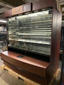 Large Wood Bakery Bagel Donut Self Service Display Case With Glass Do