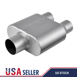 Performance Chamber Race 3 Single Inlet 2 5 Dual Out Mufflers Exhaust Universal