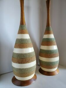 2 Vtg Mid Century Modern Signed Quartite Teak Table Lamps 1962