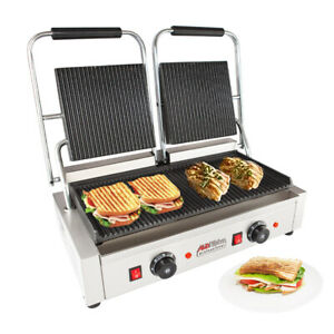 Double Panini Press Sandwich Machine With Ribbed Plates Adjustable Control
