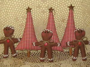 Country Christmas Handmade Fabric 3 Gingerbread 3 Trees Wreath Making Home Decor