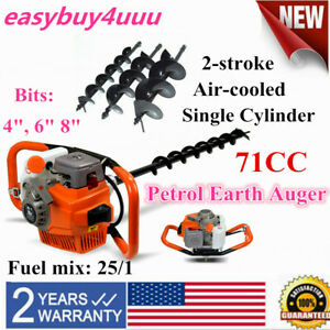 71cc 2hp Gas Post Earth Digger Auger Hole Borer Ground Drill W 4 6 8 Bits