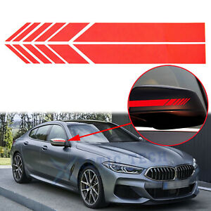 Door Side Rearview Mirror Red Vinyl Decoration Stripe Stickers For Universal Car