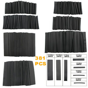 381pcs Black Glue Waterproof Heat Shrink Sleeving Tubing Tube Assortment Set
