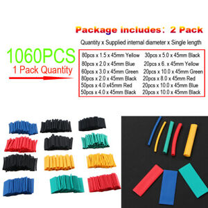 1060pcs 2 1 Heat Shrink Tubing Insulation Shrinkable Tube Wire Cable Sleeve Set
