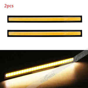 Us Pair 12v Led Strip Drl Daytime Running Light Fog Cob Car Lamp Driving Yellow