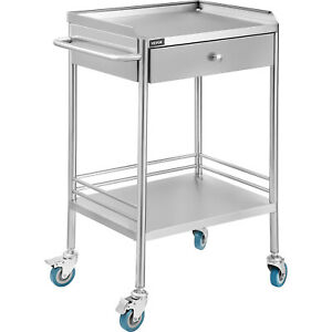 Medical Trolley Hospital Clinic Mobile Rolling Serving Cart W 2 Tiers 1 Drawer