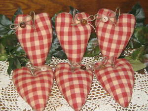 6 Rustic Red Hearts Bowl Fillers Country Decor Handmade Fabric Wreath Accents