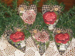 5 Hearts Bowl Fillers Wreath Accents Handmade Country Decor Primitive