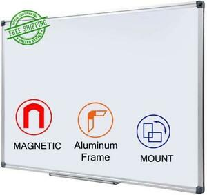 Magnetic White Board 48 X 36 Inch Large Dry Erase With Pen Tray Wall Mounted