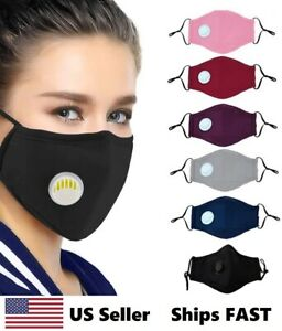 Reusable Face Mask With Air Valves And Filter Pocket Includes 1 Pm2 5 Filter
