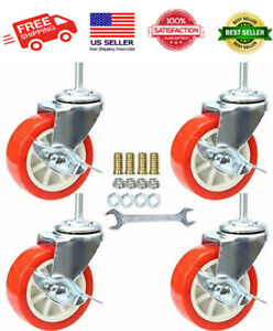 3 Inch Stem Swivel Caster Wheels With Brake Set Of 4 Metric Size M8 1 25 new