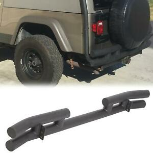 For 1997 2006 Jeep Tj Wrangler Black Rear Double Tube Bumper W Fixed Plates