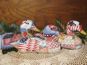3 Americana Ducks Country Decor Bowl Fillers Wreath Accents Vintage Look Fabric