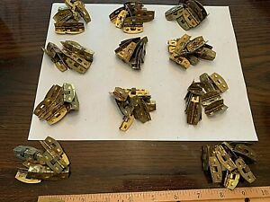 Vintage Brass Small Rounded Spring Hinges 1 1 8 New Old Stock 11 Lots Of 10 Pc