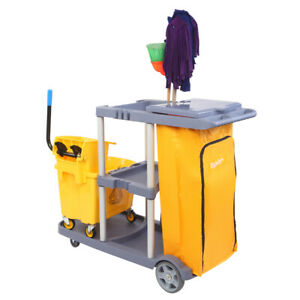 Housekeeping Cleaning Cart Janitorial 3 Shelf Mute Rolling Cart High Capacity Us