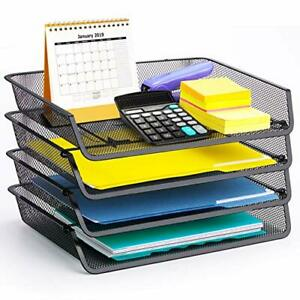 4 Pack Simple Trending Stackable Office Desk Supplies Organizer Black
