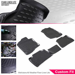Wellvisors All Weather Floor Mats Liner 4 Pc 2 Row Set For Chevy Silverado 07 14