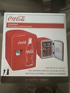 Classic Coca Cola Mini Fridge 4 Liter/6 Can With AC And DC Plugs Ships Fast