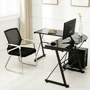 L Shape Tempered Glass Computer Desk W keyboard Tray Cpu Stand corner Laptop P
