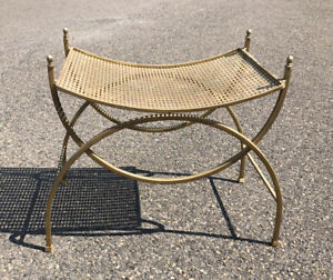 Vintage Art Deco Hollywood Regency Mid Century Metal Vanity Bench Chair Stool