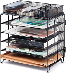 Paper Organizer Tray 5 Tier Mesh Desk File Organizer With Extra Drawer Screws Fr