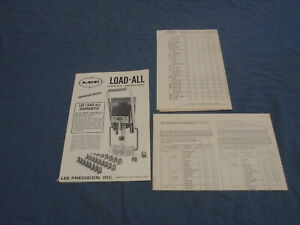 Lee Load-All reloader instruction manual with charge table and bushing chart $8.00