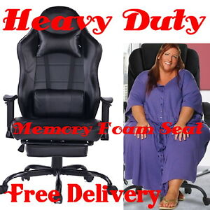 Heavy Duty Gaming Reclining Chair Footrest High Back Big And Tall Leather Large