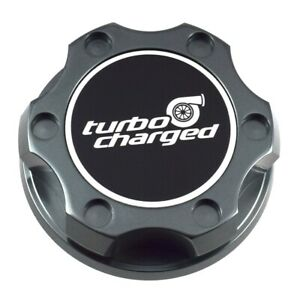 Gunmetal Engine Oil Cap Billet Black Turbo Charged Emblem For Toyota Scion Lexus