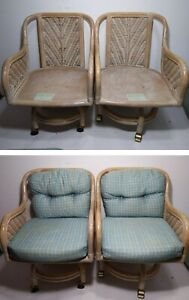 Vintage Set Of 4 Swivel Rolling Bentwood Bamboo Rattan Arm Chairs Mcm Boho Chic