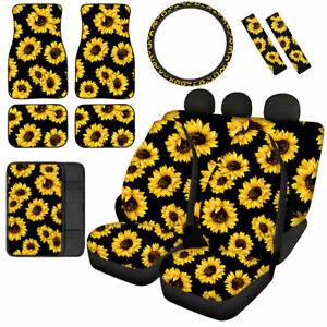 Sunflower Car Seat Covers Full Set Combo Floor Mats armrest Cover Etc For Women