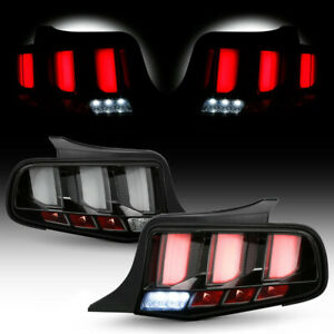 For 2010 2014 Ford Mustang Black Clear Sequential Led Tube Tail Light Brake Lamp