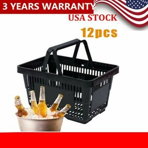 12 Pack Black Plastic Shopping Totes Grocery Convenience Retail Store Baskets