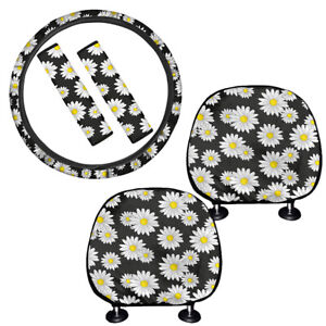 Floral Daisy Car Seat Covers Headrest Cover Set For Women Girls Truck suv vans