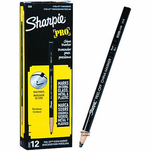 Sharpie Pro Black Peel Off China Marker Grease Pencil 02089 Box Of 12