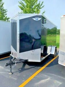 New 2019 6x12 6 X 12 V nosed Enclosed Cargo Motorcycle Trailer Ramp Side Door