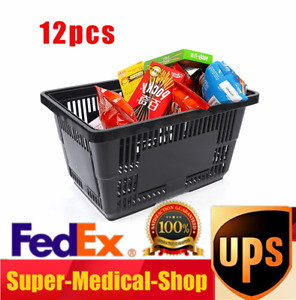Durable Black Plastic Shopping Baskets Grocery Convenience Store Basket 12 Qty