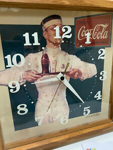 VTG 1990 Drink Coca-Cola Clock Woodgrain Square Frame With Waiter & Glass Face
