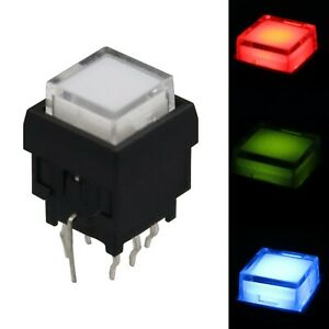 5pcs Ts6 Square Transparent Cover Led Light Maintianed Push Button Switch Dpdt
