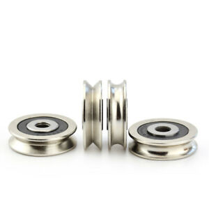 U V Groove Metal Pulley Ball Bearing Wheel Wire Rope Guide Rail Roller 6x30x8mm